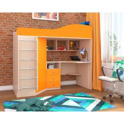 Кадет-1 с металлической лестницей дуб молочный и оранжевый