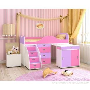 Малыш люкс белое дерево, розовый и ирис